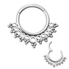 ASTM F136 Titanium Beaded Cluster Septum Clicker Nose Ring Piercing jewelry