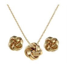 Aço inoxidável conjunto de jóias incluem colar brinco banhado a ouro para mulheres