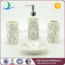 Cylinder Ceramic Toothbrush Holder Bathroom Set Soap Dispenser