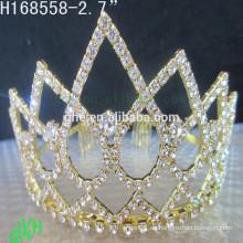 .New diseña la corona barata del Rhinestone, las tiaras y la corona del oro del desgaste del desfile
