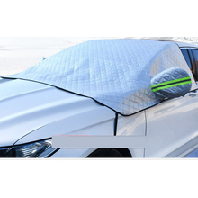 Outdoor Windproof Magnetic Half Car Cover Sunshade Protector Car Windshield Snow Ice Cover with Rear Mirror Covers Bag
