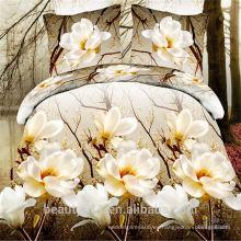 El precio directo de fábrica 100% algodón 4pcs ropa de cama incluye edredón cubierta almohada caso cama sábanas BS01