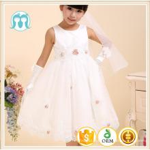 crianças vestido de festa vestido de noiva appliqued vestido de flor