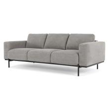Home Furniture Metal Frame 3 Seater Couch Washed Grey Cotton Living Room Furniture Modern Sofa Velvet
