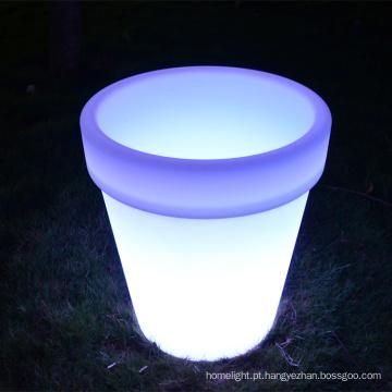 LED ao ar livre grande redondo plástico levou luminosa plantador/rotomolded plástico vaso