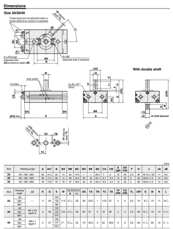 CRQ2 pneumatic cylinder detail