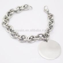 Billig Einfache Edelstahl Blank Silber Runde Charme Chain Armband