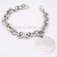 Cheap Simple Stainless Steel Blank Silver Round Charm Chain Bracelet