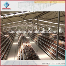 abrigo de pollo de bajo costo estructura de acero de aves de corral vertiente