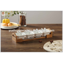 Best sale with bamboo tray ceramic spice jar Salt & Pepper herb tool