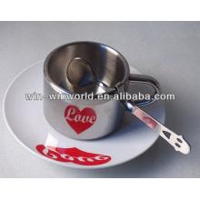 Liebhaber-Herz Anamorphic Kaffeetassen und Becher