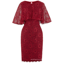 Kate Kasin 1/2 Sleeve Round Neck Knee Length Lace Dark Red Evening Dress Mother of the Bride Dress 8 Size US 2~16 KK000201-1