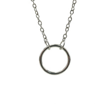 Colar de pingente de círculo brilhante em prata de lei