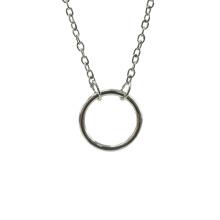Sterling Silber Shiny Circle Anhänger Halskette