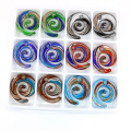 MC0036 sable multicolore Flat Swirl verre charme pendentifs or Lampwork 12 pcs / boîte