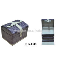 fashional PVC belleza maletín con 2 cajones interior
