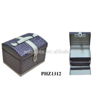 fashional caso de beleza de couro de PVC com 2 gavetas dentro
