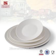 vaisselle promotionnelle ronde assiette blanche, vaisselle en porcelaine, plat en céramique