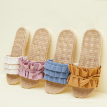 Женские плоские повседневные мягкие нескользящие тапочки с открытым носком