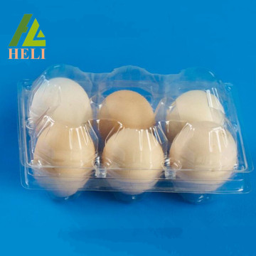 Clamshell 6 Cells Plastic Chicken Eggs Tray