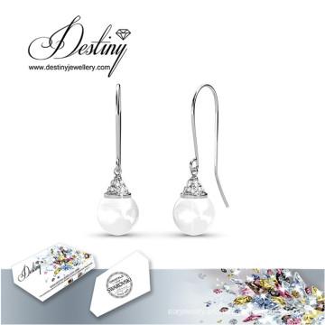 Destino joyas cristales Swarovski gancho pendientes de perlas