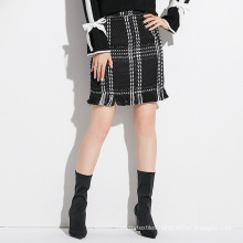 Small fragrant wind with tweed fishtail skirt half-length skirt office lady skirt