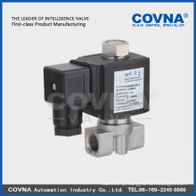 Válvula solenóide de atuação direta Micro Válvula solenóide de aço inoxidável Válvula solenóide de vedação EPDM de 1/4 polegada 220V