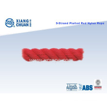 3 Strand Plaited Red Nylon Rope