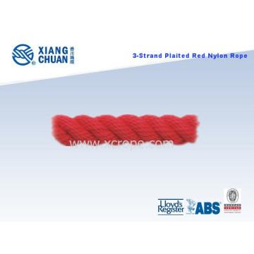 Cuerda de nylon rojo trenzado 3 filamentos