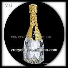 K9 3D Gold Plated Crystal Wine Bottle