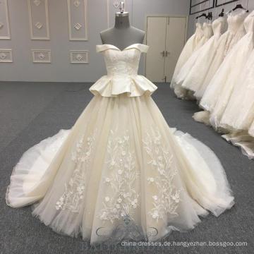 2018 Champagner weg von der Schulterhochzeits-Partykleid weg von kundenspezifischer Größe zwei Schichten Rock großes Hochzeitskleid mit langem Zug von China