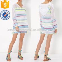 Multicolore Stripe gaze à capuche Fabrication en gros de mode femmes vêtements (TA4037B)