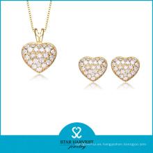 Juego de joyas plateadas en oro en forma de corazón (J-0156)