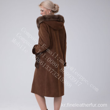 스페인 메리노 Shearling Hooded Luxury Coat Winter