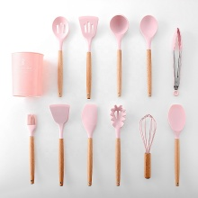 Non-Stick Silicone Beech Wood Handle Kitchen Utensils Set