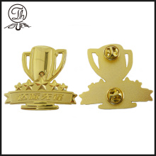 Gold trophy cup pin badge