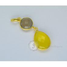 Gold überzogene Sterlingsilber-Halskette Vermeil Halskette Chalcedon-hängende Halskette