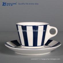 Tasse à café en porcelaine pas chère Tissu en porc à la cire Tasse en céramique Tasse et Sausers