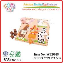 2015 educación agrícola animal forma clasificador rompecabezas de madera juguetes oem fábrica