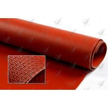 Un lado de silicona revestida de color rojo de tela de vidrio