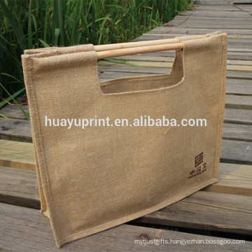 wooden handle shopping bag
