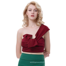 Belle Poque Sexy Womens Asymmetrical One Shoulder Big Bow-Tie Decorado Cropped Wine Red Tops BP000343-2