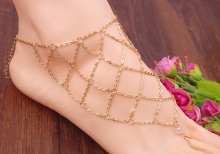 Fashion Personality Exaggeration Footlet Fishnet Geometric Toe Chain Anklet