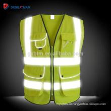 Großhandelsgelb-reflektierende Weste der hohen Sicht, hallo Viz-Tag / Nacht-Sicherheits-Hochleistungsarbeitskleidungs-Reißverschluss-multi Taschen EN20471