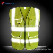 Vente en gros gilet réfléchissant de haute visibilité jaune, Salut Viz jour / nuit Sécurité Vêtements de travail résistant Zipper Multi poches EN20471