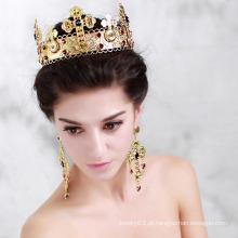 Anel da coroa do ouro branco da coroa 14b do diamante da rainha da beleza
