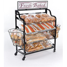 Merchandising Wire Mesh Collapsible Bakery Display Supermarket Commercial Bread Rack For Sale