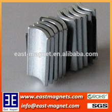 Zinc coated arc shape Neodymium magnet for sale/pmdc motor NdFeB magnet for sale