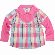 Baby' Apparel Ready Made Autumn Cotton Yarn-dyed Woven Shirt with Embroidery