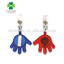 hand shape plastic name badge holder